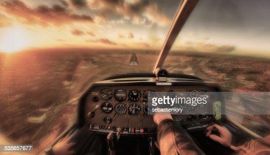Cockpit of emergency landing airplane