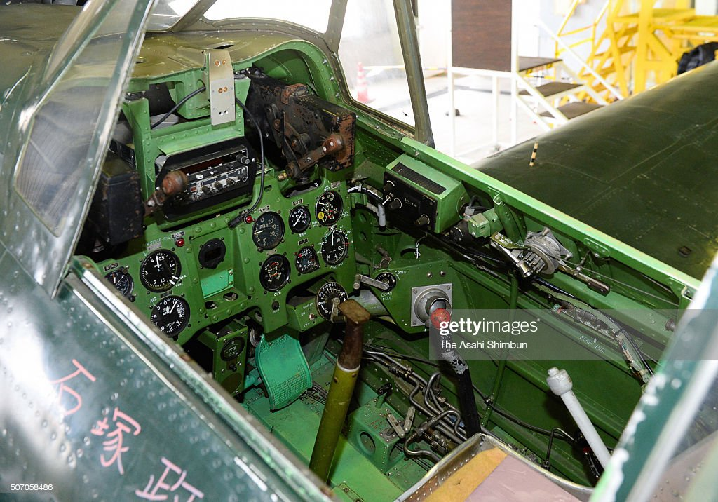 A cockpit of the restored Mitsubishi Zero fighter is seen at the Japan Maritime SelfDefense Force Kanoya Airbase on January 27 2016 in Kanoya...