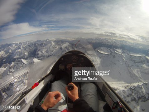 Cockpit view of glider : Stock Photo
