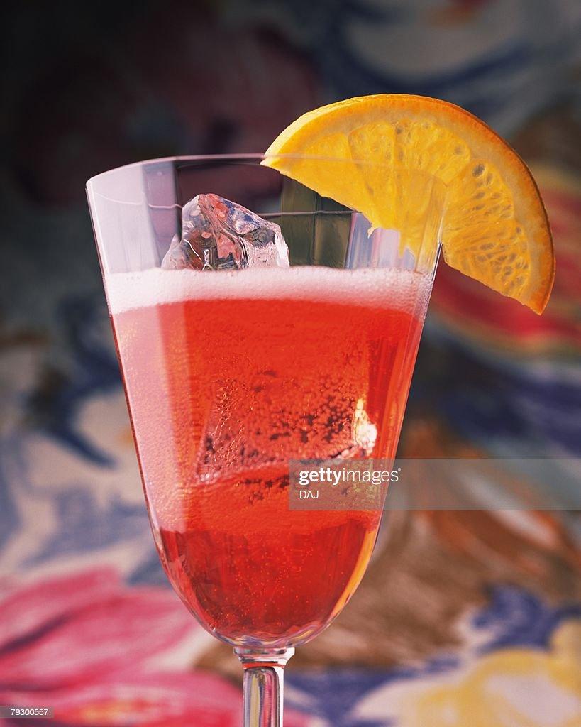 Cocktail, Campari Soda, Close Up, Differential Focus : Stock Photo