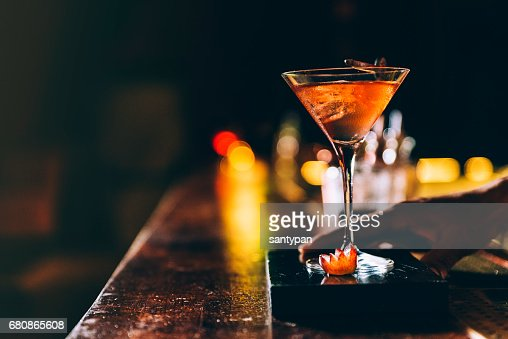 Cocktail drink on night club. : Stock Photo
