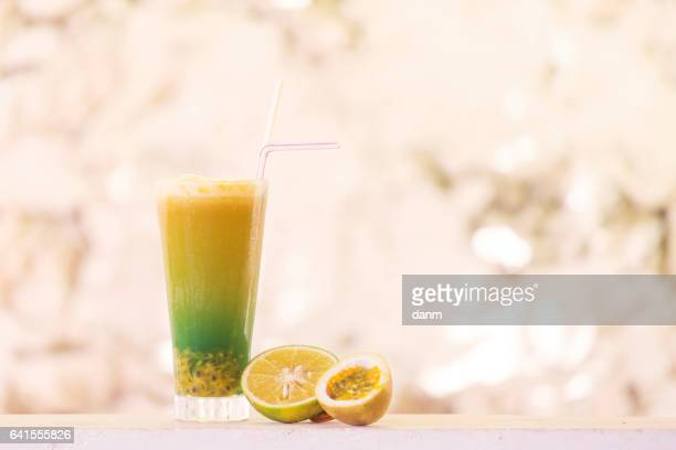 Cocktail from orange and passion fruit