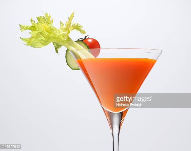Cocktail glass with vegetables