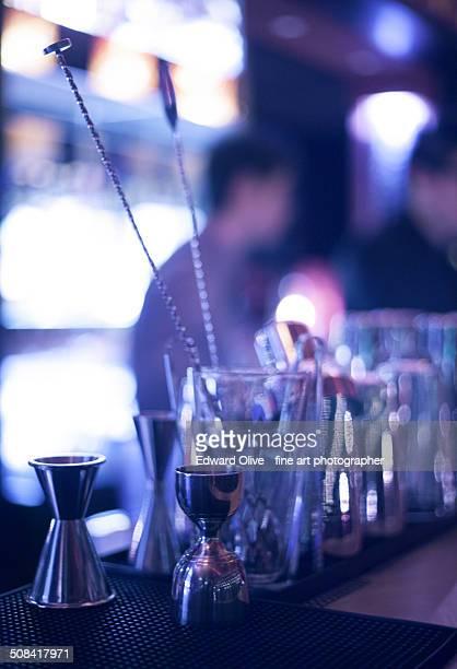 Cocktail measures on bar in nightclub