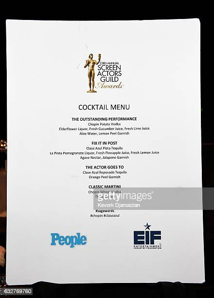 Cocktail menu seen at the SAGAFTRA Auction Display and The 23rd Annual Screen Actors Guild Awards behind the scenes event on January 26 2017 in Los...