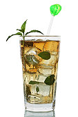 Cocktail Mint Julep Glass Isolated White