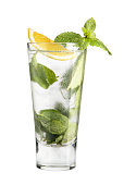 Cocktail mojito in a high glass on a white background