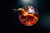 cocktail on a black background, isolated