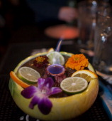 A cocktail prepared at Hogo is served in fancy ceramic tiki glass on Saturday January 5 2013