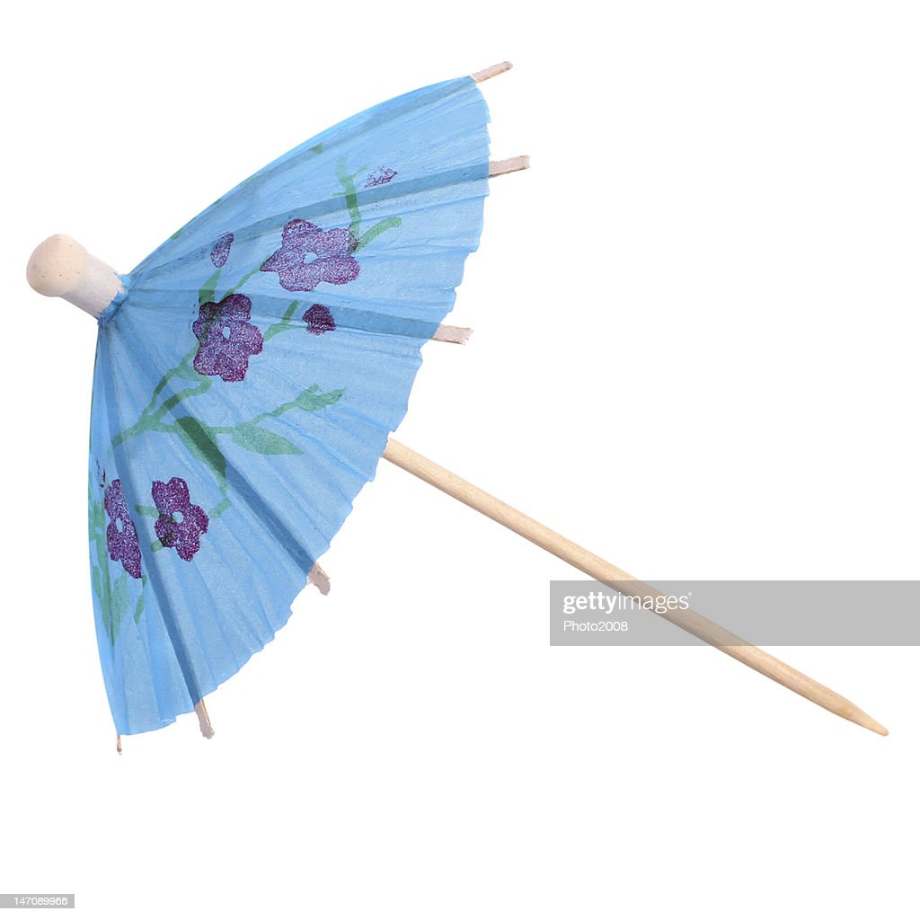 Beau Blue Tropical Cocktail Umbrella Isolated On White.