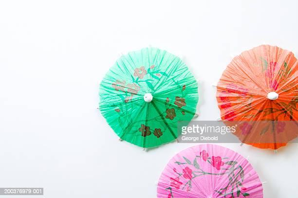 Cocktail umbrellas, overhead view