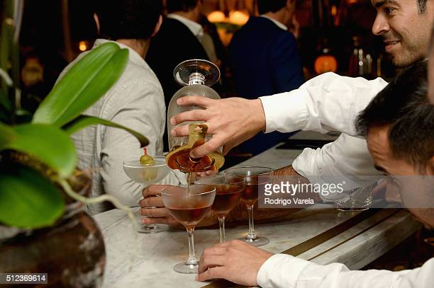 Cocktails being served at a Dinner Hosted By Francis Mallmann And Paul Qui during 2016 Food Network Cooking Channel South Beach Wine Food Festival...