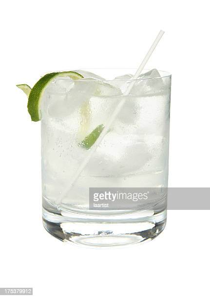 Cocktails on white: Gin and Tonic.