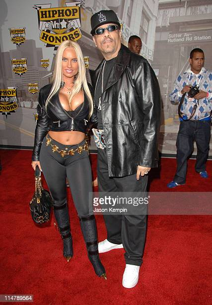 Coco and Ice T during 2006 VH1 Hip Hop Honors Arrivals at Hammerstein Ballroom in New York City New York United States