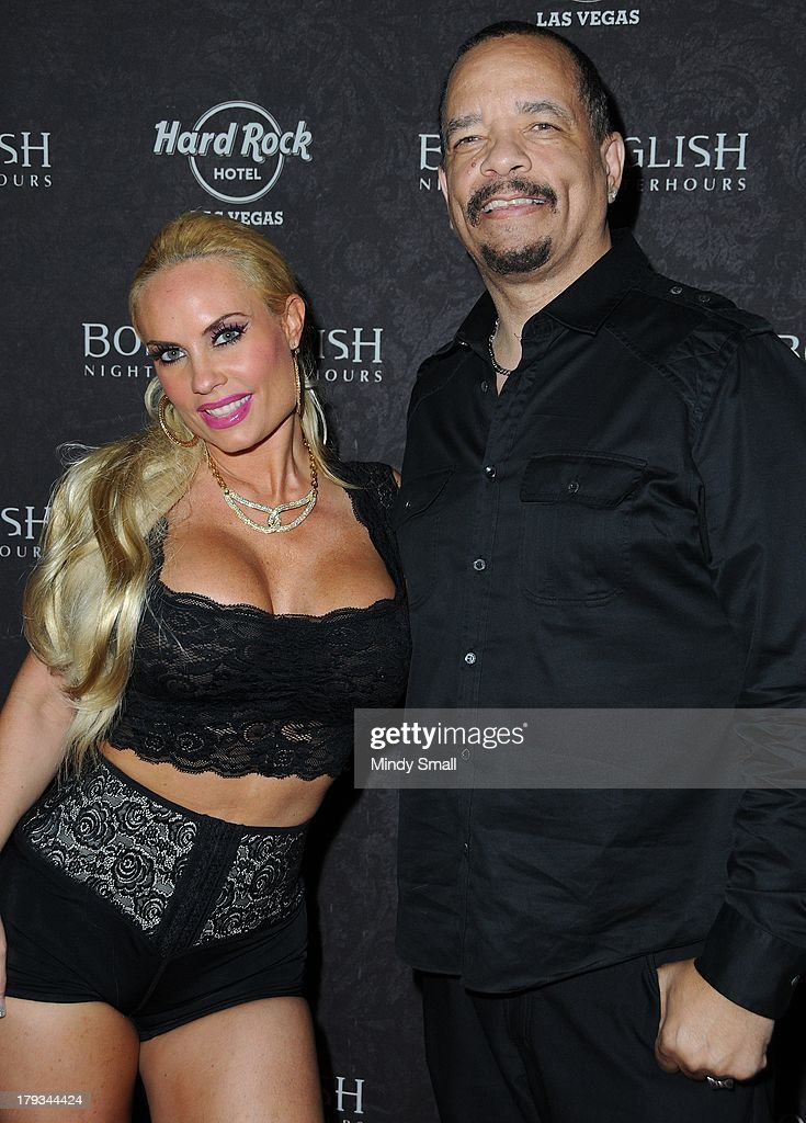 Coco Austin and <a gi-track='captionPersonalityLinkClicked' href=/galleries/search?phrase=Ice-T&family=editorial&specificpeople=213017 ng-click='$event.stopPropagation()'>Ice-T</a> arrive at the Body English nightclub inside the Hard Rock Hotel & Casino on September 1, 2013 in Las Vegas, Nevada.