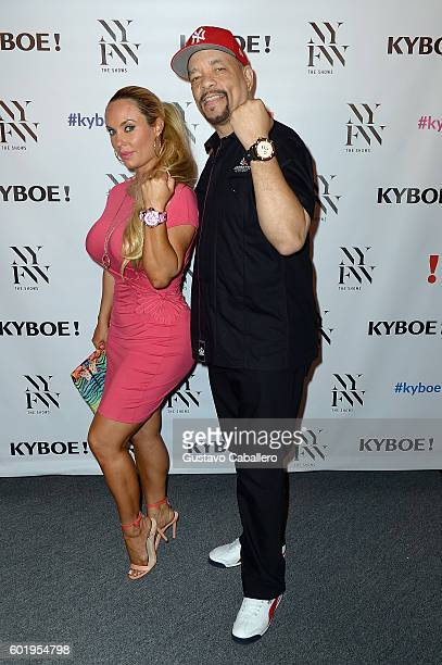 Coco Austin and IceT pose backstage at the KYBOE fashion show during New York Fashion Week The Shows at The Arc Skylight at Moynihan Station on...