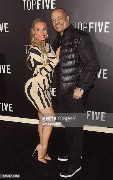 Coco Austin and rapper IceT attend the 'Top Five' New York premiere at Ziegfeld Theater on December 3 2014 in New York City