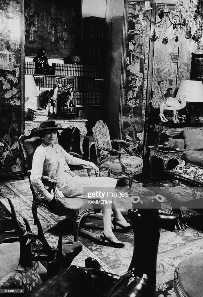 Coco Chanel at her home in Paris, France in 1954.