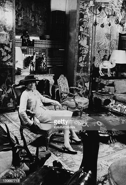 Coco Chanel at her home in Paris France in 1954