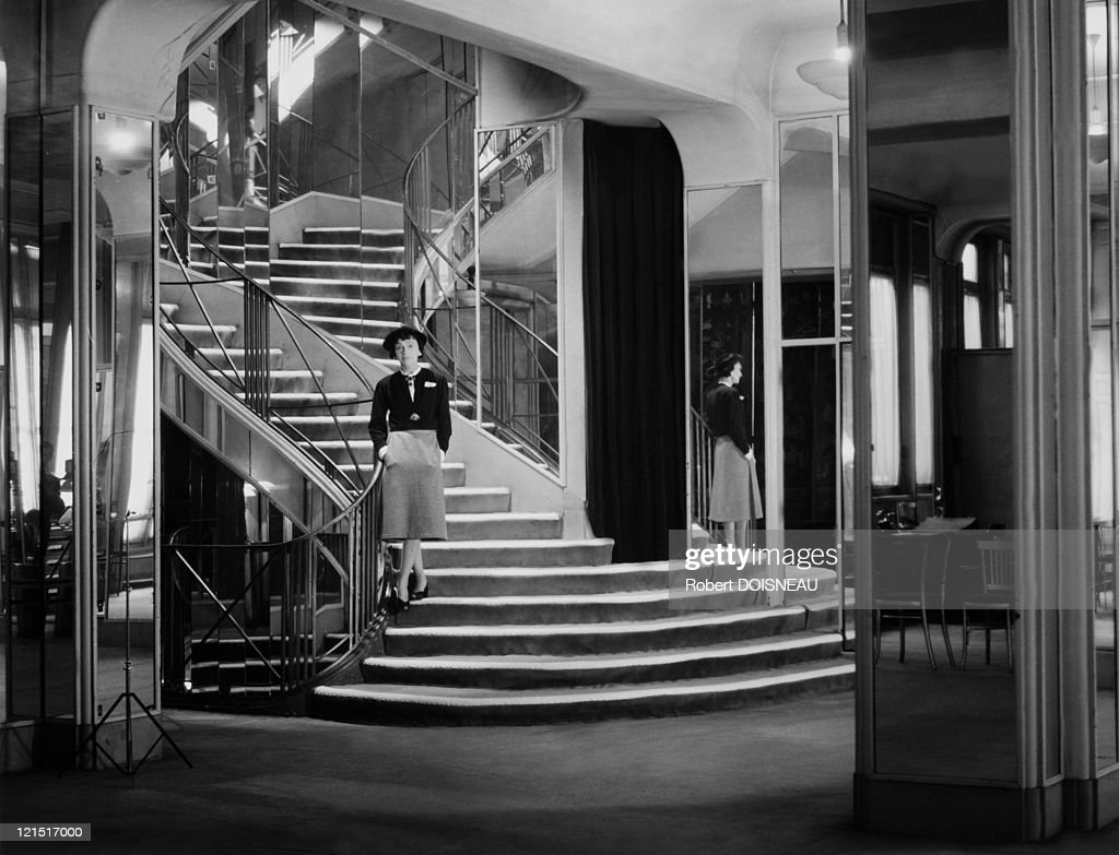 Coco Chanel in her shop, Paris, 1953.
