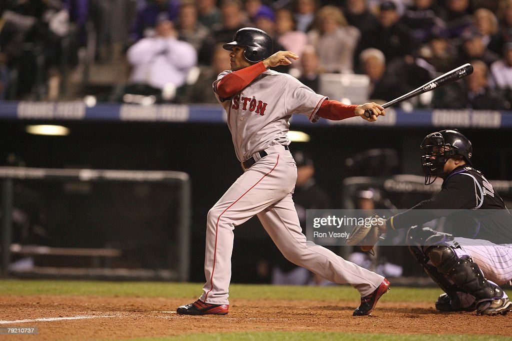 Coco Crisp of the Boston Red Sox bats during Game Three of the World Series against the Colorado Rockies at Coors Field in Denver, Colorado on October 27, 2007. The Red Sox defeated the Rockies 10-5.