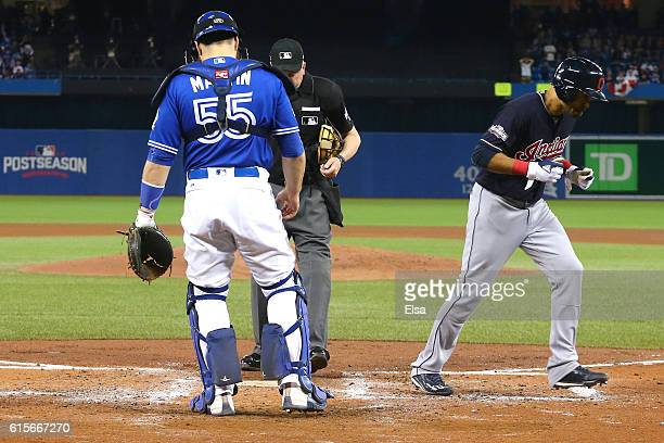 Coco Crisp of the Cleveland Indians celebrates after hitting a solo home run in the fourth inning against Marco Estrada of the Toronto Blue Jays...