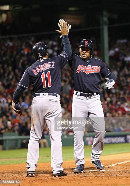 Coco Crisp of the Cleveland Indians celebrates with Jose Ramirez after hitting a tworun home run in the sixth inning against the Boston Red Sox...