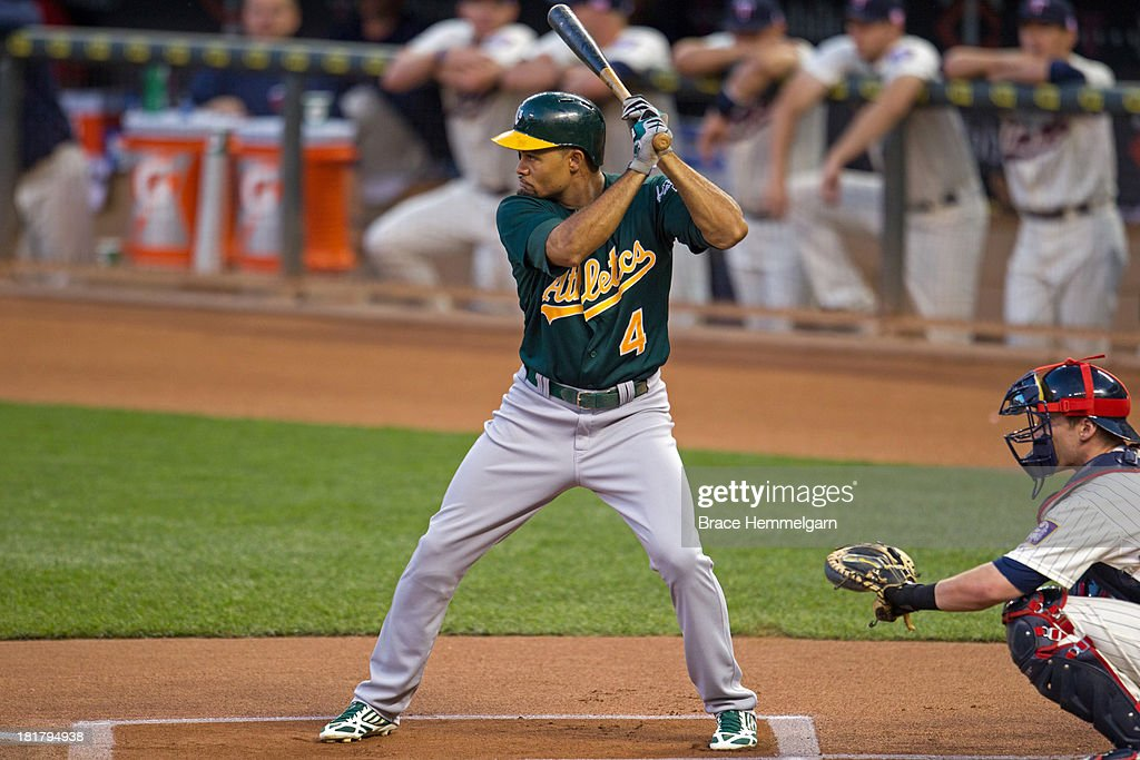 <a gi-track='captionPersonalityLinkClicked' href=/galleries/search?phrase=Coco+Crisp&family=editorial&specificpeople=206376 ng-click='$event.stopPropagation()'>Coco Crisp</a> #4 of the Oakland Athletics bats against the Minnesota Twins on September 11, 2013 at Target Field in Minneapolis, Minnesota. The Athletics defeated the Twins 18-3.