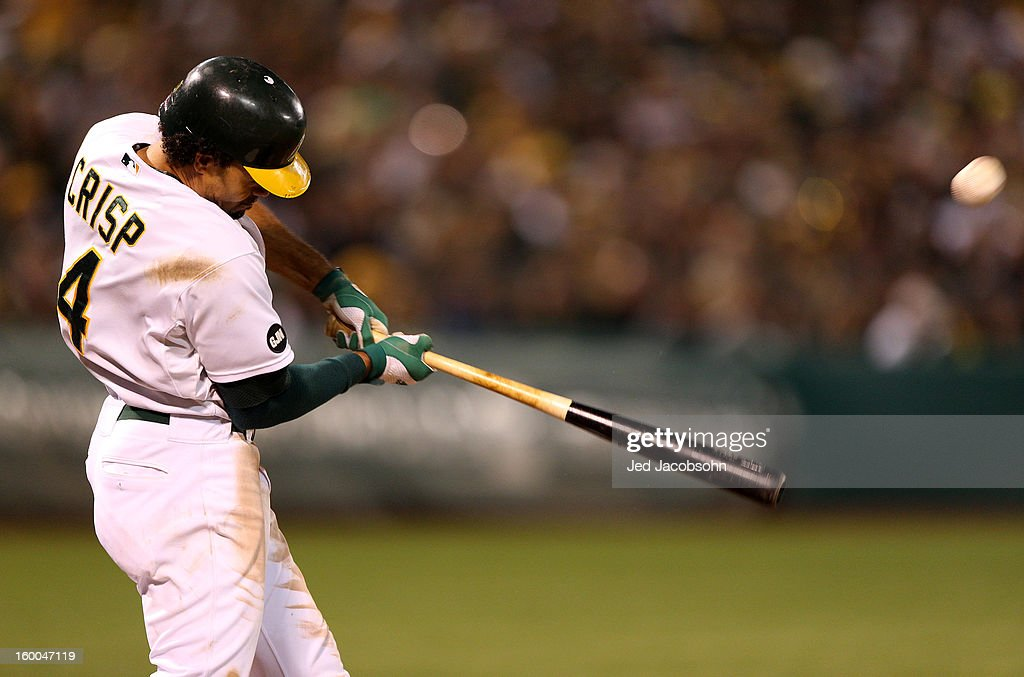 <a gi-track='captionPersonalityLinkClicked' href=/galleries/search?phrase=Coco+Crisp&family=editorial&specificpeople=206376 ng-click='$event.stopPropagation()'>Coco Crisp</a> #4 of the Oakland Athletics bats during Game 3 of the American League Division Series against the Detroit Tigers on Tuesday October 9, 2012 at The Coliseum in Oakland, California.