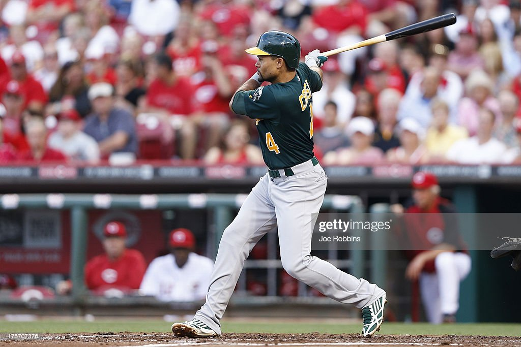<a gi-track='captionPersonalityLinkClicked' href=/galleries/search?phrase=Coco+Crisp&family=editorial&specificpeople=206376 ng-click='$event.stopPropagation()'>Coco Crisp</a> #4 of the Oakland Athletics follows through on a triple in the third inning of the game against the Cincinnati Reds at Great American Ball Park on August 6, 2013 in Cincinnati, Ohio.