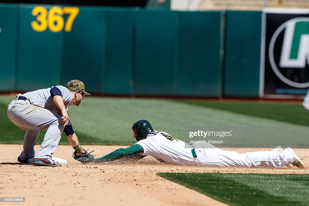 <a gi-track='captionPersonalityLinkClicked' href=/galleries/search?phrase=Coco+Crisp&family=editorial&specificpeople=206376 ng-click='$event.stopPropagation()'>Coco Crisp</a> #4 of the Oakland Athletics is tagged out attempting to steal second base by <a gi-track='captionPersonalityLinkClicked' href=/galleries/search?phrase=Brian+Dozier&family=editorial&specificpeople=7553002 ng-click='$event.stopPropagation()'>Brian Dozier</a> #2 of the Minnesota Twins during the eighth inning at the Oakland Coliseum on May 30, 2016 in Oakland, California. The Oakland Athletics defeated the Minnesota Twins 3-2.