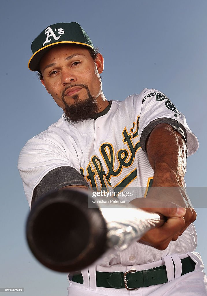 Coco Crisp #4 of the Oakland Athletics poses for a portrait during the spring training photo day at Phoenix Municipal Stadium on February 18, 2013 in Phoenix, Arizona.
