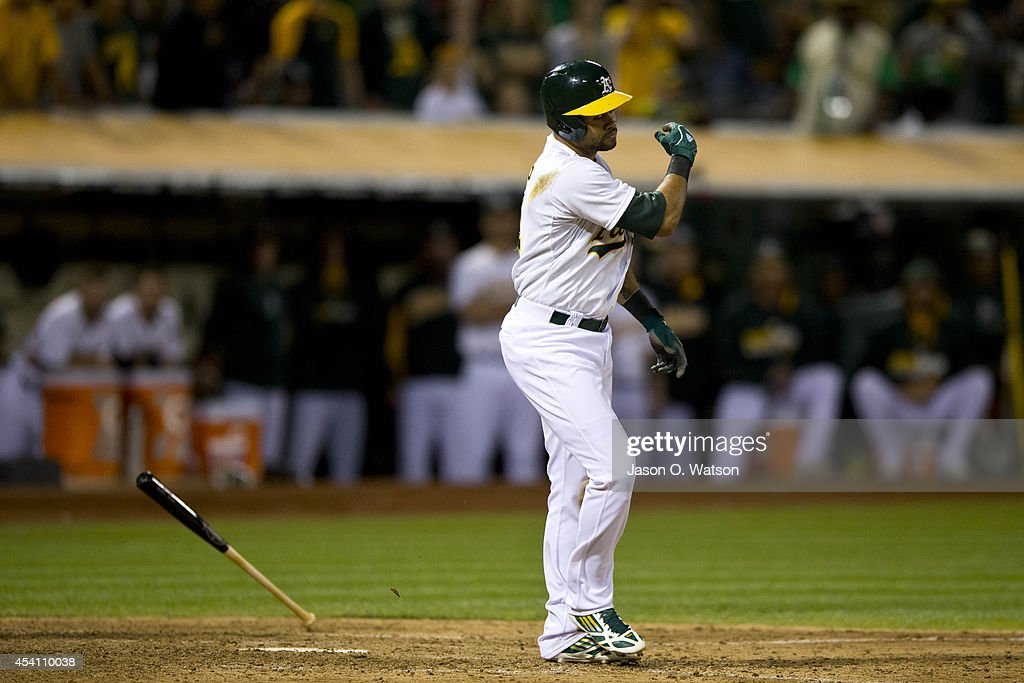<a gi-track='captionPersonalityLinkClicked' href=/galleries/search?phrase=Coco+Crisp&family=editorial&specificpeople=206376 ng-click='$event.stopPropagation()'>Coco Crisp</a> #4 of the Oakland Athletics reacts after a called third strike to end the game against the Los Angeles Angels of Anaheim during the ninth inning at O.co Coliseum on August 24, 2014 in Oakland, California. The Los Angeles Angels of Anaheim defeated the Oakland Athletics 9-4.