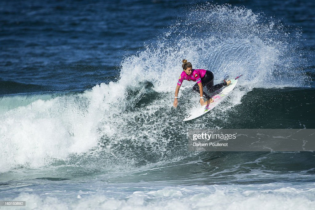Coco Ho from Hawaii was defeated by Sally Fitzgibbons in the semi final at EDP Girls Pro on October 5, 2013 in Cascais, Portugal.