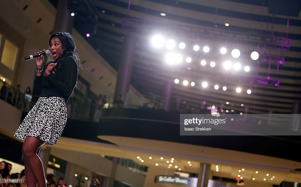<a gi-track='captionPersonalityLinkClicked' href=/galleries/search?phrase=Coco+Jones&family=editorial&specificpeople=4684153 ng-click='$event.stopPropagation()'>Coco Jones</a> performs during the Pastry Fashion Show with 1U mission at the Fashion Show mall on August 20, 2013 in Las Vegas, Nevada.