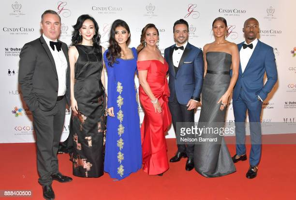 Coco Maria Bravo Luis Fonsi Alesha Dixon and Azuka Ononye attend the Global Gift Gala on day three of the 14th annual Dubai International Film...