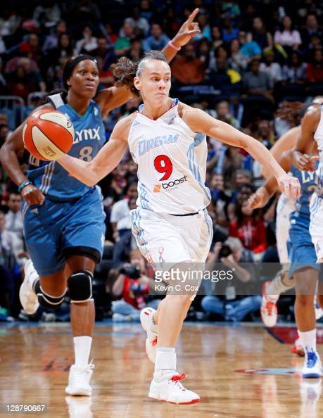Coco Miller of the Atlanta Dream against the Minnesota Lynx in Game Three of the 2011 WNBA Finals at Philips Arena on October 7 2011 in Atlanta...
