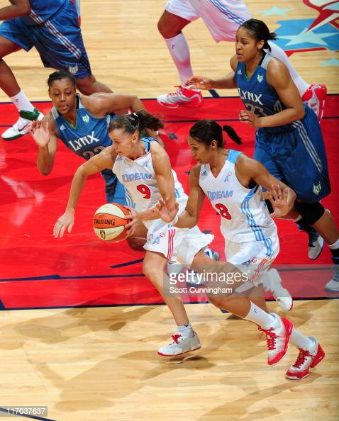 Coco Miller of the Atlanta Dream drives against the Minnesota Lynx at Philips Arena on June 19 2011 in Atlanta Georgia NOTE TO USER User expressly...