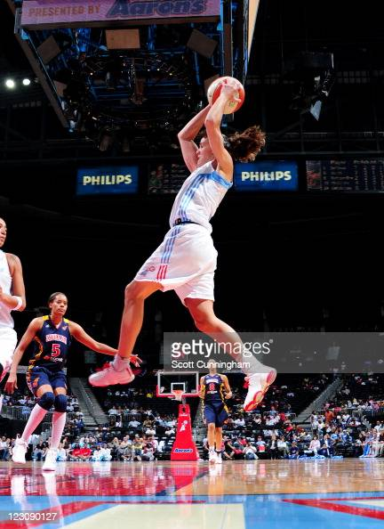 Coco Miller of the Atlanta Dream grabs a rebound against the Indiana Fever at Philips Arena on August 30 2011 in Atlanta Georgia NOTE TO USER User...
