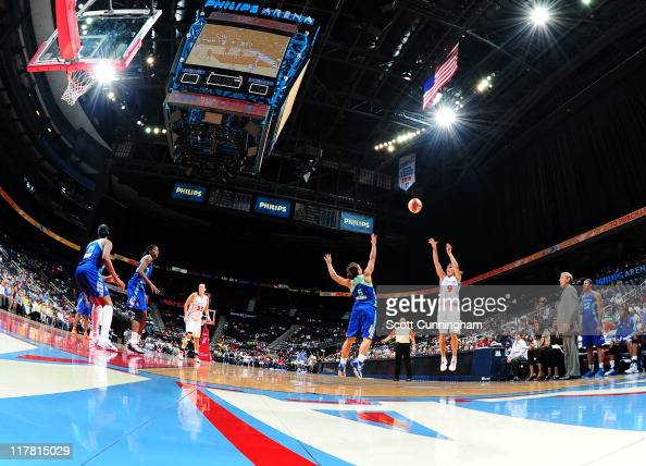 Coco Miller of the Atlanta Dream puts up a shot against the New York Liberty at Philips Arena on June 30 2011 in Atlanta Georgia NOTE TO USER User...