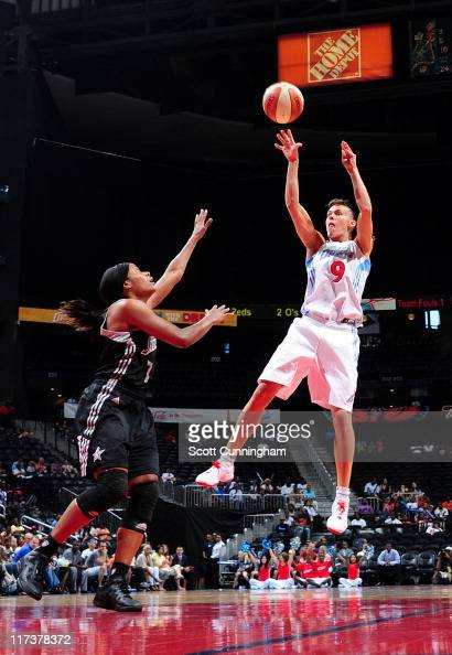 Coco Miller of the Atlanta Dream puts up a shot against the San Antonio Silver Stars at Philips Arena on June 26 2011 in Atlanta Georgia NOTE TO USER...