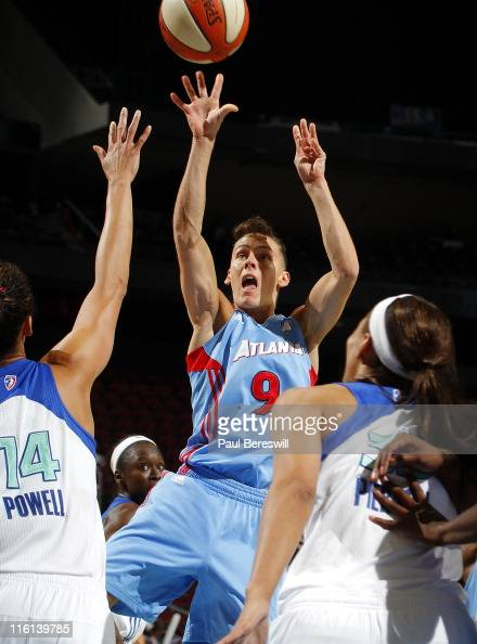 Coco Miller of the Atlanta Dream takes a shot against the New York Liberty in the second half on June 14 2011 at the Prudential Center in Newark New...