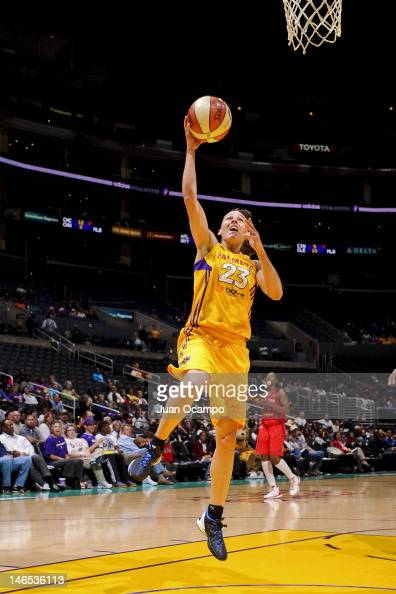 Coco Miller of the Los Angeles Sparks goes to the basket against the Washington Mystics at the Staples Center on June 18 2012 in Los Angeles...