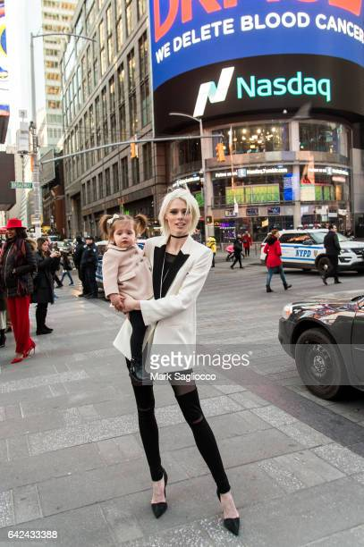 Coco Rocha and daughter Ioni James Conran attend the ringing of The Nasdaq Closing Bell at NASDAQ on February 17 2017 in New York City