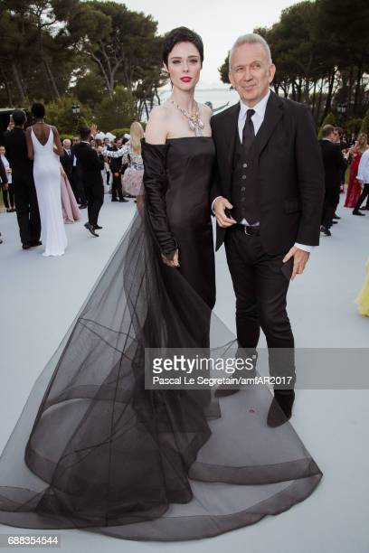 Coco Rocha and JeanPaul Gaultier attend the amfAR Gala Cannes 2017 at Hotel du CapEdenRoc on May 25 2017 in Cap d'Antibes France