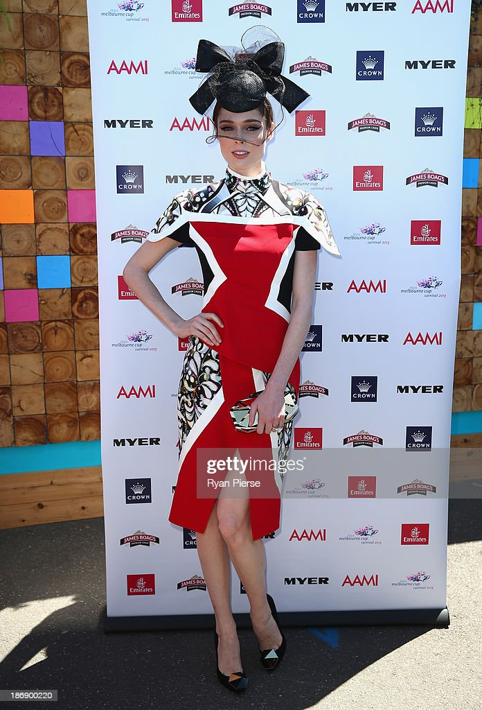 <a gi-track='captionPersonalityLinkClicked' href=/galleries/search?phrase=Coco+Rocha&family=editorial&specificpeople=4172514 ng-click='$event.stopPropagation()'>Coco Rocha</a> arrives during Melbourne Cup Day at Flemington Racecourse on November 5, 2013 in Melbourne, Australia.