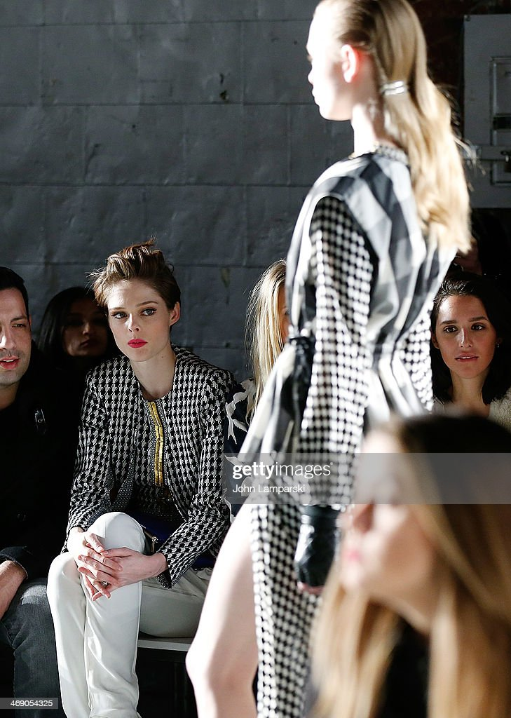 <a gi-track='captionPersonalityLinkClicked' href=/galleries/search?phrase=Coco+Rocha&family=editorial&specificpeople=4172514 ng-click='$event.stopPropagation()'>Coco Rocha</a> attend the Sass & Bide Show during Mercedes-Benz Fashion Week Fall 2014 at Classic Car Club on February 12, 2014 in New York City.