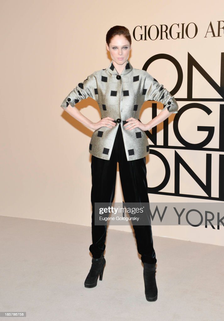 <a gi-track='captionPersonalityLinkClicked' href=/galleries/search?phrase=Coco+Rocha&family=editorial&specificpeople=4172514 ng-click='$event.stopPropagation()'>Coco Rocha</a> attends Armani - One Night Only New York at SuperPier on October 24, 2013 in New York City.