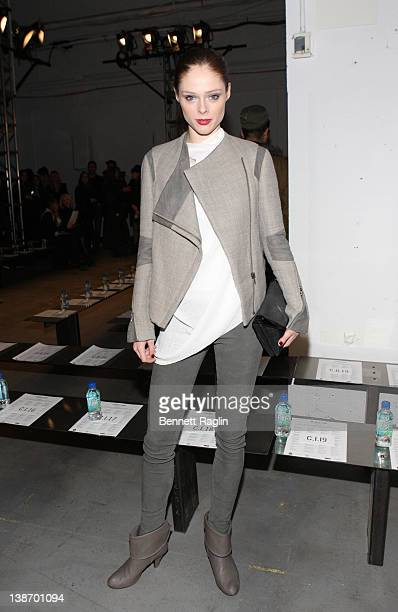 Coco Rocha attends the Helmut Lang fall 2012 fashion show during MercedesBenz Fashion Week at St John's Center Studio on February 10 2012 in New York...