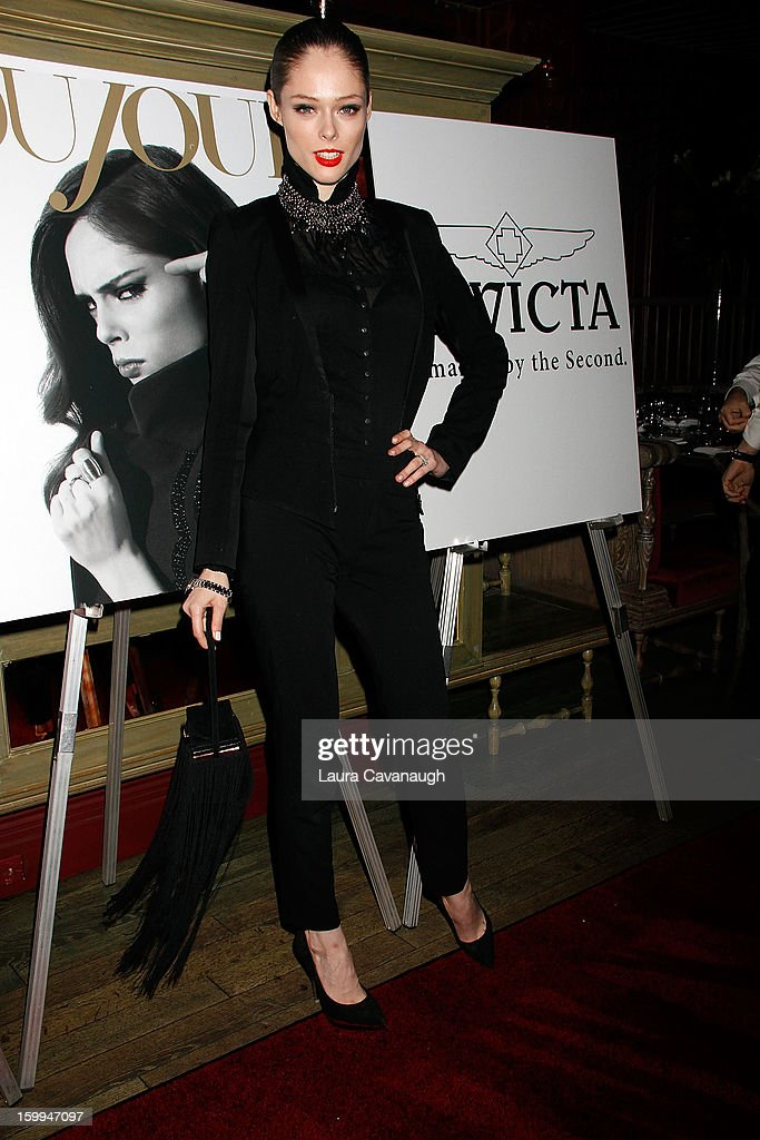 <a gi-track='captionPersonalityLinkClicked' href=/galleries/search?phrase=Coco+Rocha&family=editorial&specificpeople=4172514 ng-click='$event.stopPropagation()'>Coco Rocha</a> attends the launch party for the DuJour February digital issue at The Darby Restaurant on January 23, 2013 in New York City.